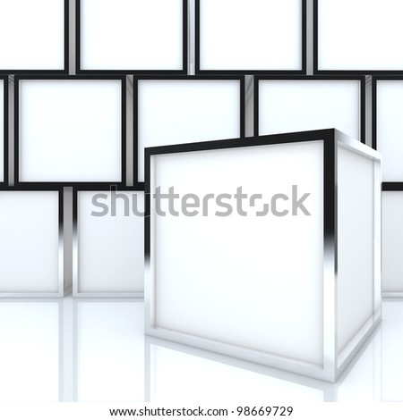 3D blank abstract white box display new design aluminum frame template for design work, on white background. - stock photo