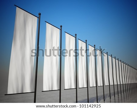 3d blank advertising flags or billboards - stock photo
