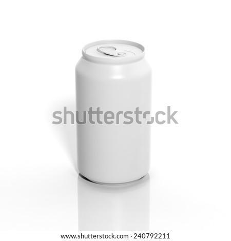 3D blank aluminium soda mockup isolated on white - stock photo