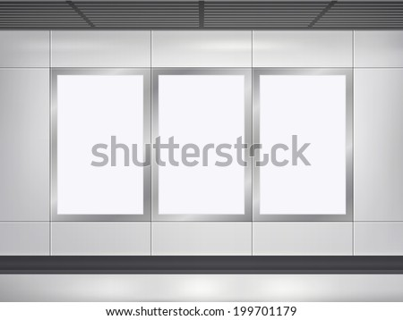 3d blank billboard and lightbox template on the wall - stock photo
