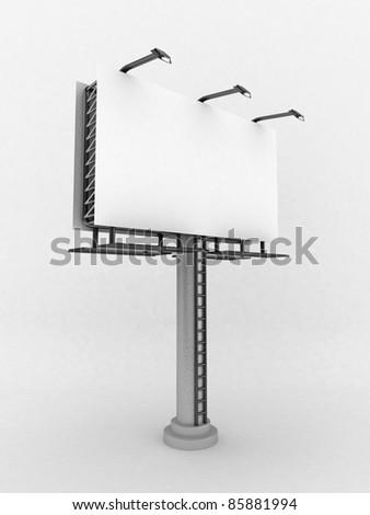 3D Blank billboard,isolated - stock photo