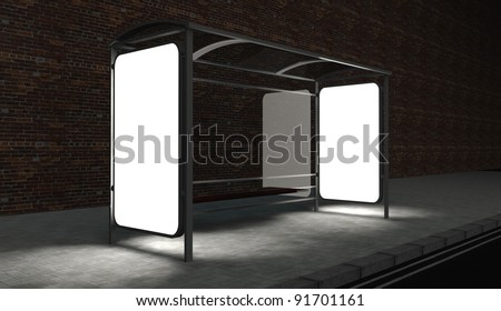 3d Blank billboard on bus stop at night with copy space - stock photo