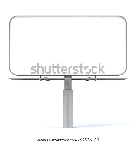 3d blank billboard on white background - stock photo