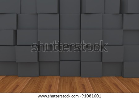 3D Blank Black Box With Wood Floor.