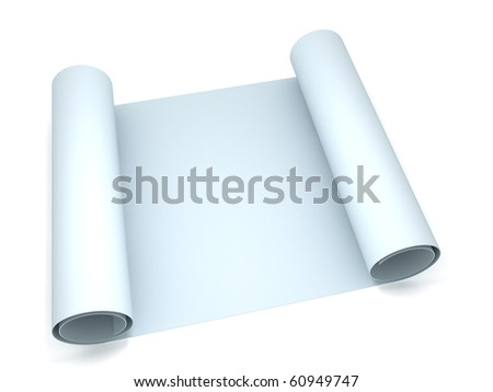3D blank blueprint roll of paper - stock photo
