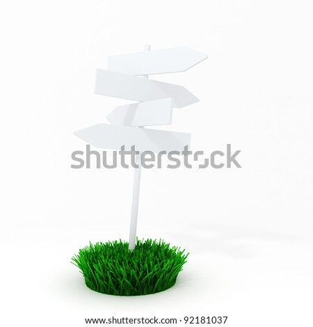3d blank board on a patch of green fresh grass - stock photo