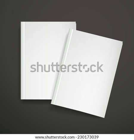 3d blank book cover over black background - stock photo