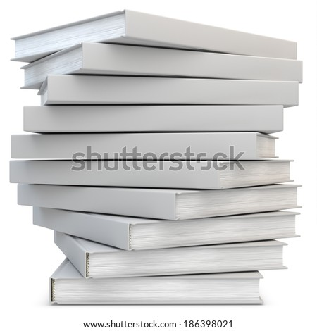 3d blank books in a stack on white background