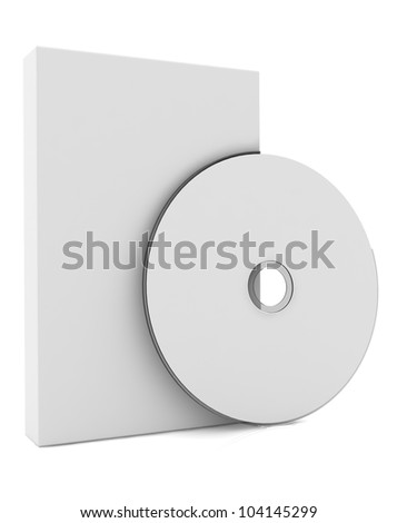 3d blank box and cd disk - stock photo