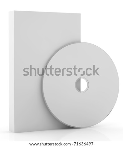 3d blank box and cd or dvd disk - stock photo