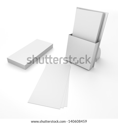 3D blank box display or stand with stack of leaflets