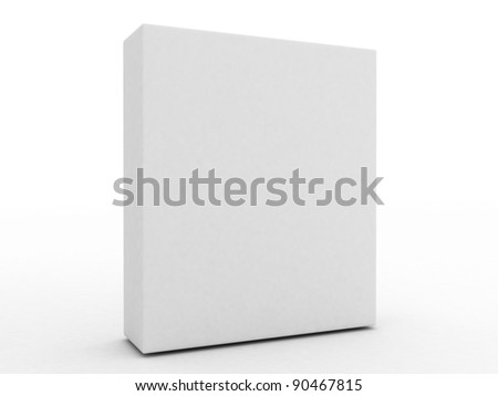 3d blank box template isolated on white background