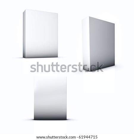 3D Blank Box 3 View Angle - stock photo