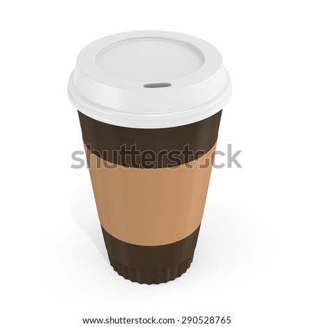 3d blank brown coffee cup  on white background - stock photo