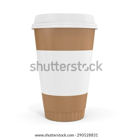 3d blank brown coffee cup  on white background