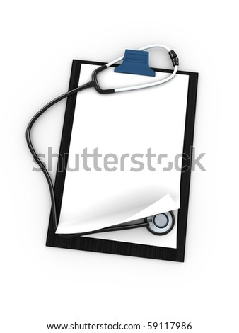 3d blank clipboard with stethoscope, isolated over white background - stock photo