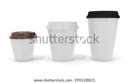 3d blank coffee cups on white background - stock photo