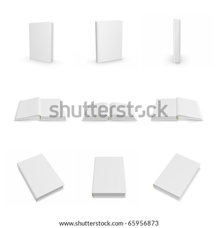 3d blank cover book web icon set - stock photo