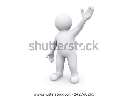 3d blank figure hand up to say hello, greeting.