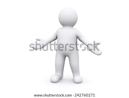3d blank figure standing welcome, proud to present. - stock photo