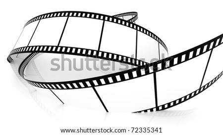 3D Blank film strip drowning in white - stock photo