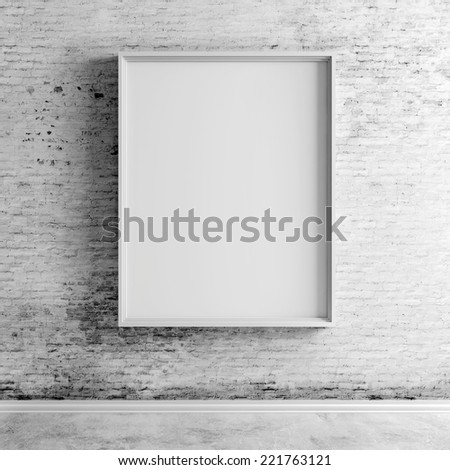 3d blank frame on white vintage brick wall - stock photo