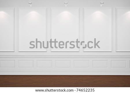 3d blank frames on white walls - stock photo