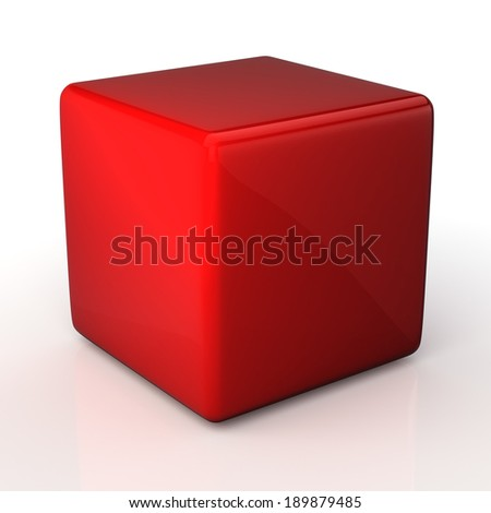 3D blank fresh red cube and reflection in isolated background with work paths, clipping paths included