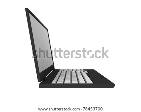 3D blank laptop computer isolated on white with clipping path - 3d illustration - stock photo