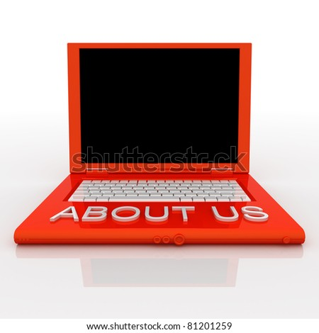 3D blank laptop computer with about us word on it