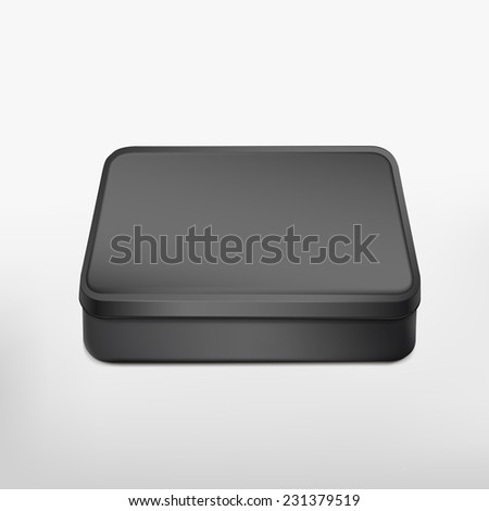 3d blank metal box template isolated on white background
