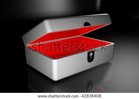 3d blank metal classy box template for elite gifts - stock photo