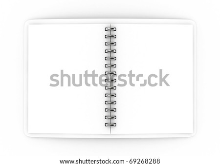 3D Blank notebook on isolated - stock photo