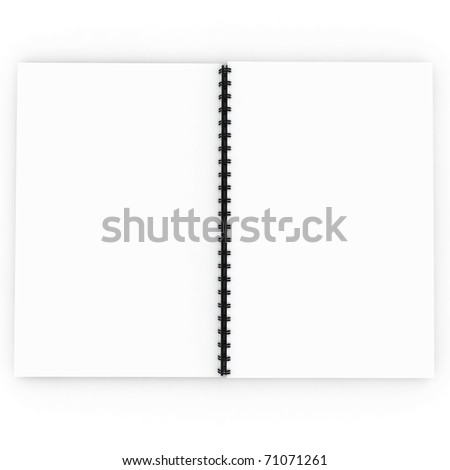 3d blank notebook spiral isolated on white - stock photo