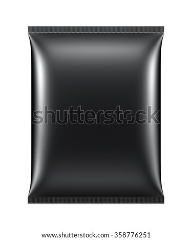 3D Blank Package Black color design big bag pillow, object isolated die cut - stock photo