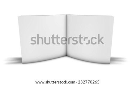3d blank photo book album standing on floor with shadow isolated on white. - stock photo