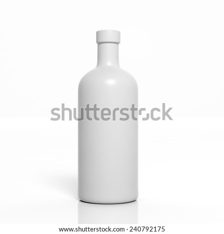 3D blank product bottle mockup isolated on white - stock photo