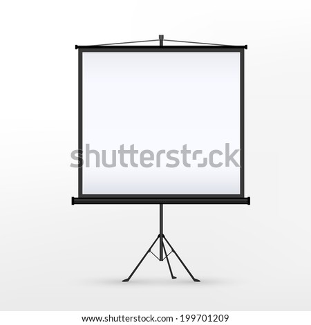 3d blank projection screen template isolated on white background
