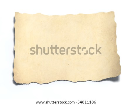 3d blank sheet of old paper. Vintage paper page with curl. - stock photo