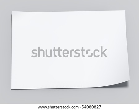 3d blank sheet of paper. Paper page with curl. - stock photo