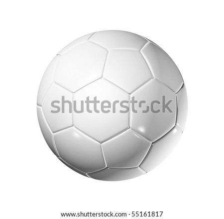 3D blank soccer ball isolated on white with clipping path