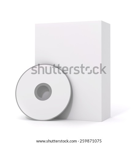 3d blank software package and dvd on white background