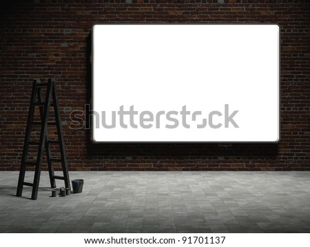3d Blank street advertising billboard on brick wall at night with ladder and bucket - stock photo