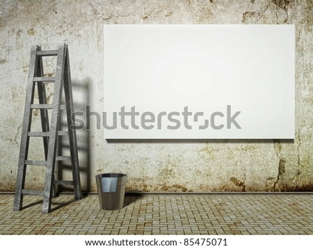 3d Blank street advertising billboard on dirty grunge wall with ladder and bucket - stock photo