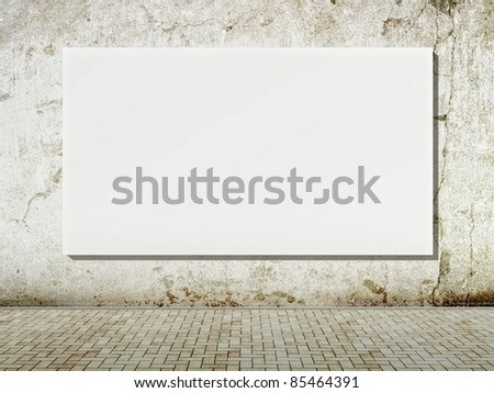 3d Blank street advertising billboard on grunge wall - stock photo