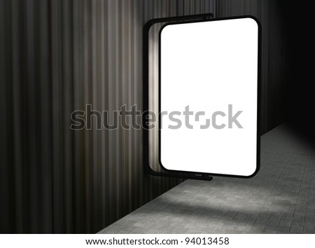 3d Blank street advertising billboard on panel wall at night - stock photo