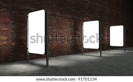 3d Blank street advertising billboards on brick wall at night - stock photo
