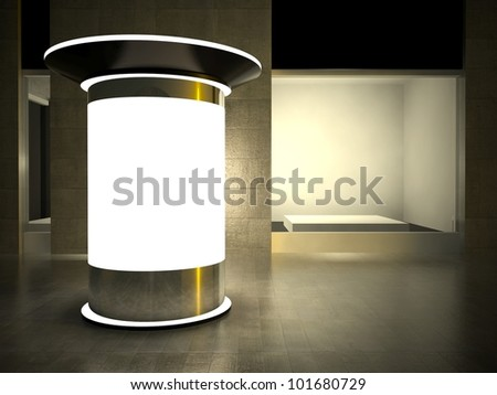 3d blank street advertising column and empty glass showcase at night - stock photo