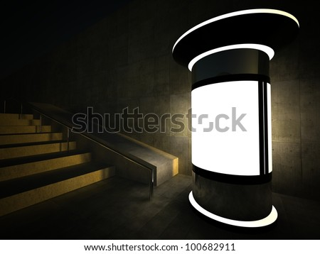 3d blank street advertising column at night - stock photo
