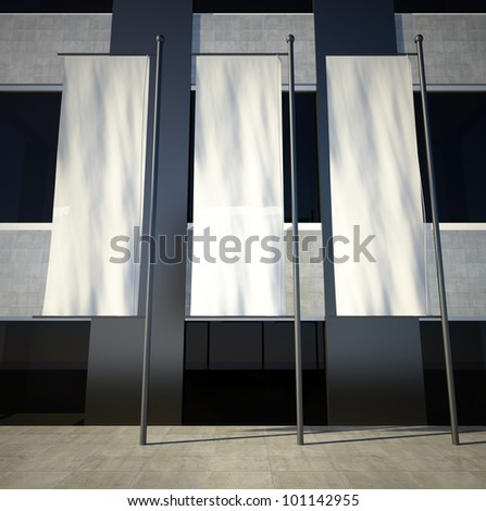 3d blank street advertising flags on building wall - stock photo